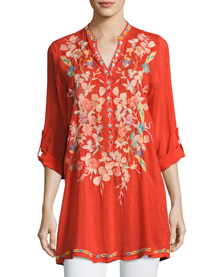 Johnny Was Nikky Embroidered Georgette Long Tunic, Orange,