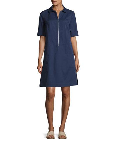 Brinley Zip-Front Italian Gabardine Dress, Delft