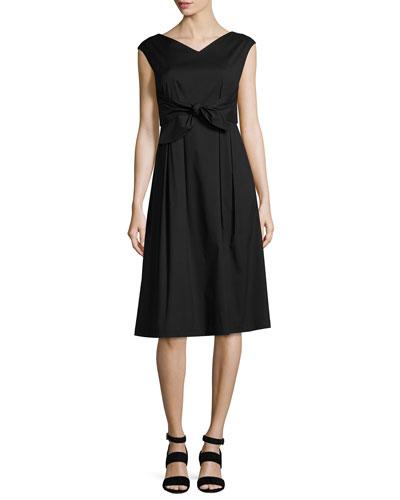 Ximena Cap-Sleeve Tie-Waist Dress, Black