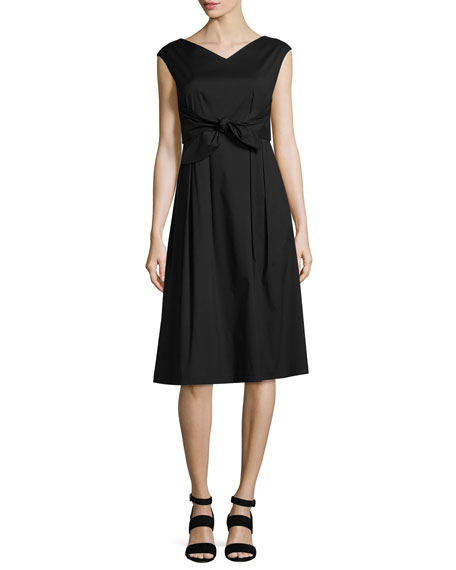 Ximena Cap-Sleeve Tie-Waist Dress, Black