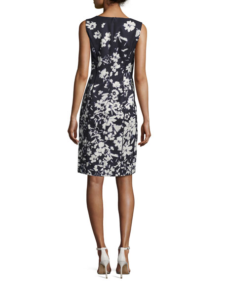 Evelyn Augusto Impression Floral-Print Sheath Dress, Ink Multi