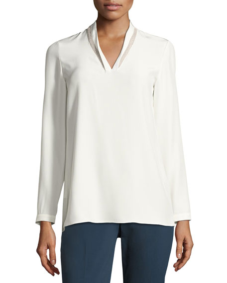 Adri Long-Sleeve Matte Silk Blouse, Cloud