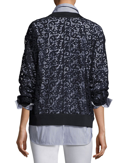 Cirilla Long-Sleeve Marquis Lace Blouse, Marine Blue