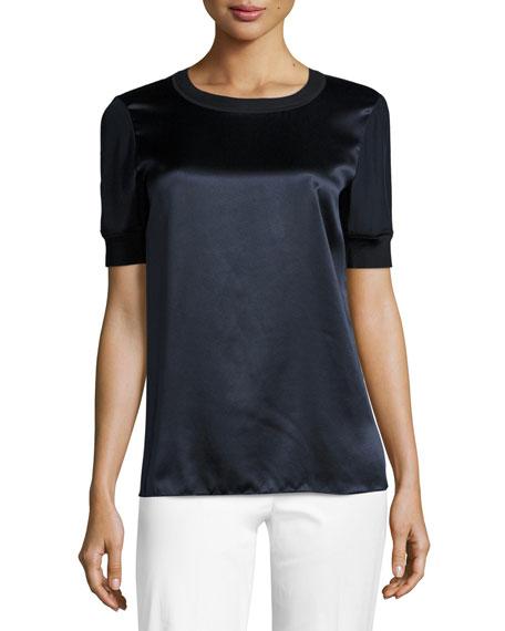 Lafayette 148 New York Brona Short-Sleeve Luxe Silk