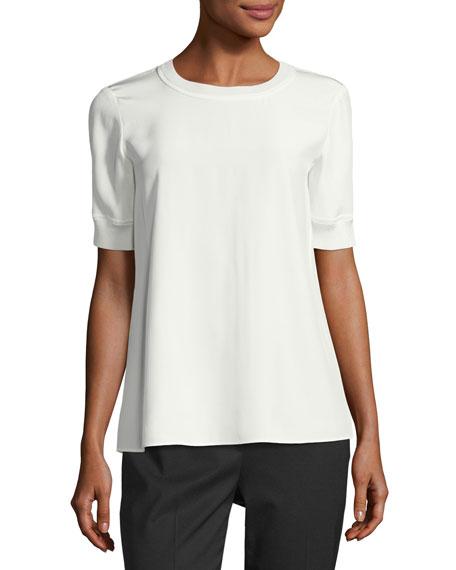 Lafayette 148 New York Brona Short-Sleeve Matte Silk