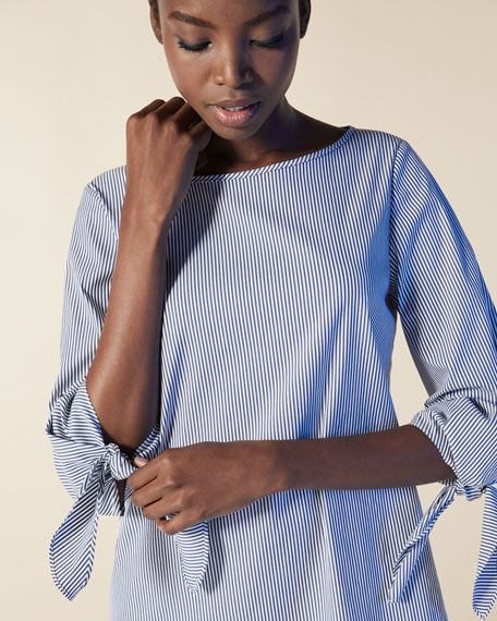 Elaina Tie-Sleeve Striped Stretch-Cotton Blouse, Marina