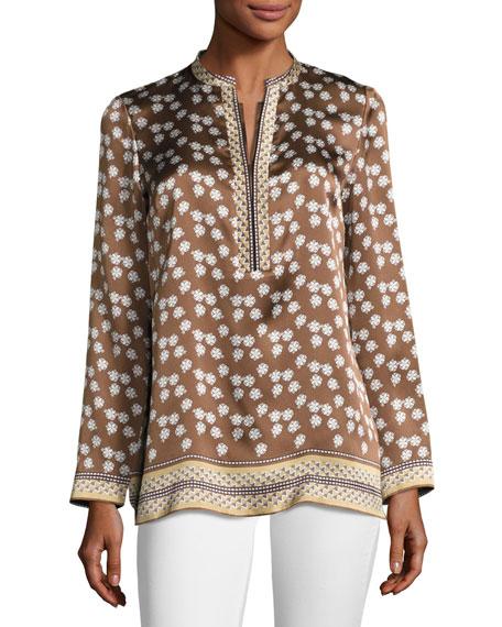 Dunham Long-Sleeve Solaro Vista Silk Blouse, Maple Multi