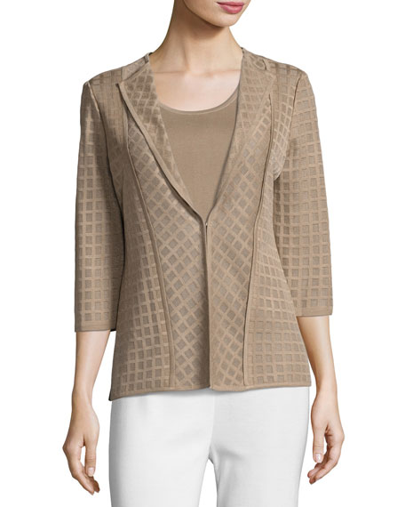 Misook Lattice Textured 3/4-Sleeve Jacket, Light Brown and