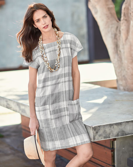 Airy Organic Linen/Cotton Plaid Shift Dress, Chambray, Plus Size