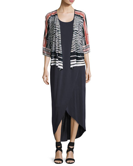 Boardwalk Sleeveless Faux-Wrap Knit Dress, Washed Midnight