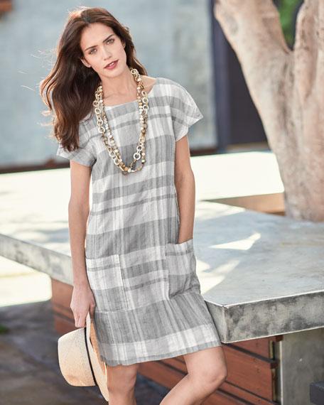 Airy Organic Linen/Cotton Plaid Shift Dress, Chambray