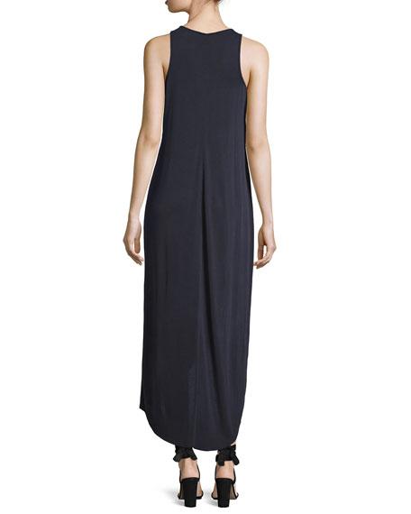 Boardwalk Sleeveless Faux-Wrap Knit Dress, Washed Midnight, Petite