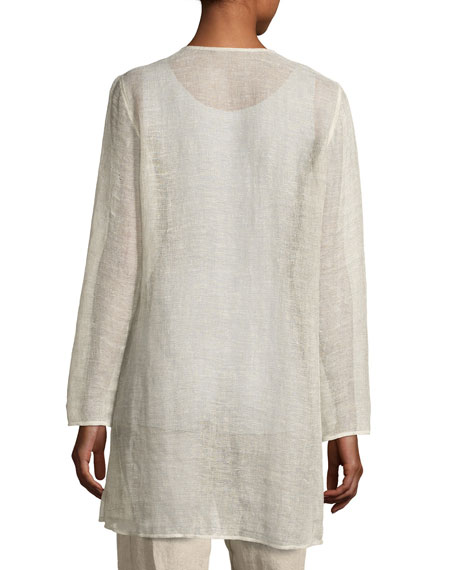 Organic Linen-Blend Mesh V-Neck Jacket, Undyed Natural