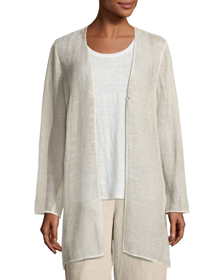 Eileen Fisher Organic Linen-Blend Mesh V-Neck Jacket, Undyed