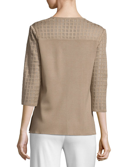 Lattice Textured 3/4-Sleeve Jacket, Light Brown, Plus Size