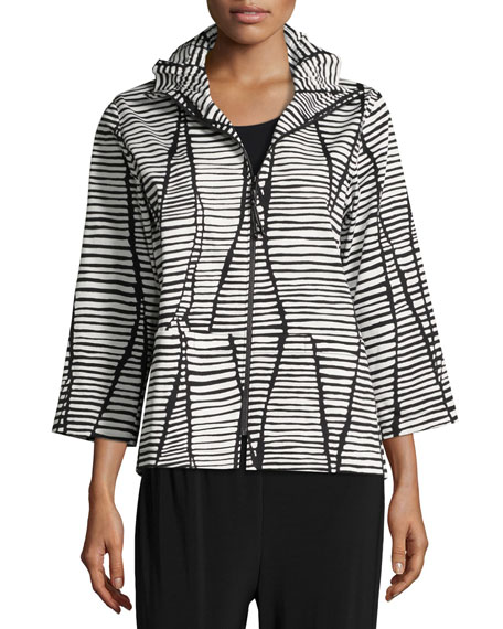 Lines & Vines Zip Jacket, Black/White, Petite