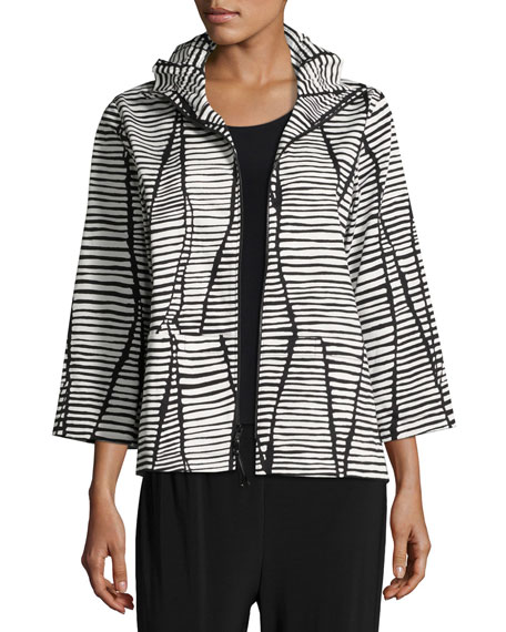 Caroline Rose Lines & Vines Zip Jacket, Black/White,