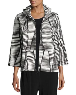 3a51048a3b6 Caroline Rose Plus Size Lines   Vines Zip Jacket