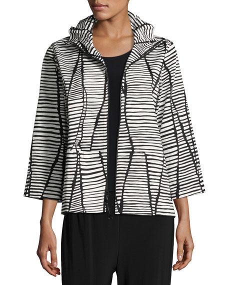 Caroline Rose Lines & Vines Zip Jacket, Black/White,