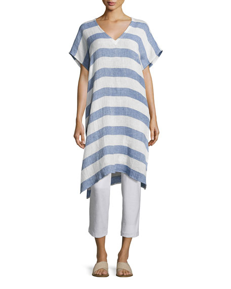 Striped Organic Linen Gauze V-Neck Tunic, Chambray