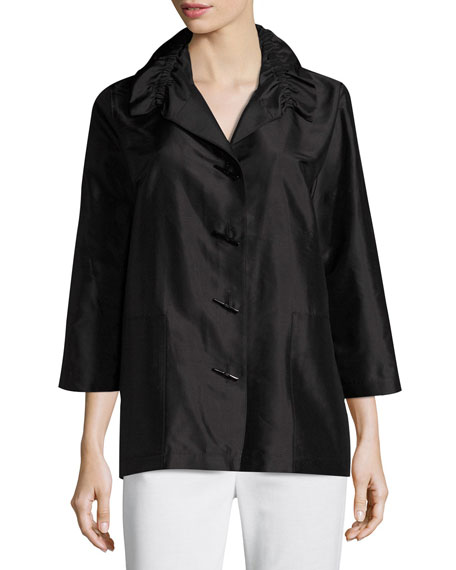 Shantung Silk Shirt Jacket