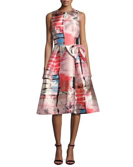 Sleeveless Metallic Printed Gazar Cocktail Dress