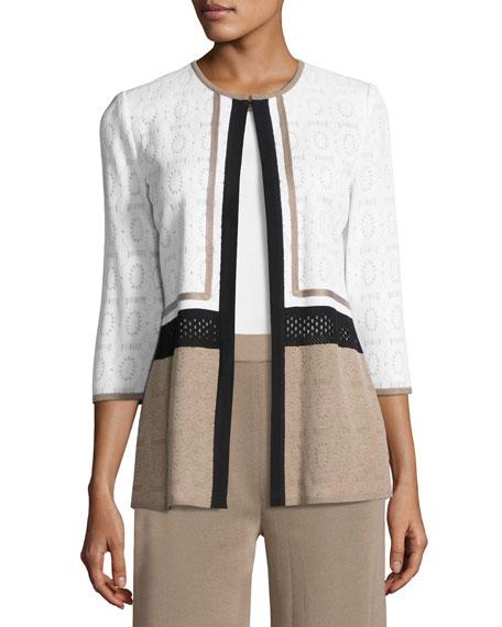Colorblock 3/4-Sleeve Jacket, Plus Size
