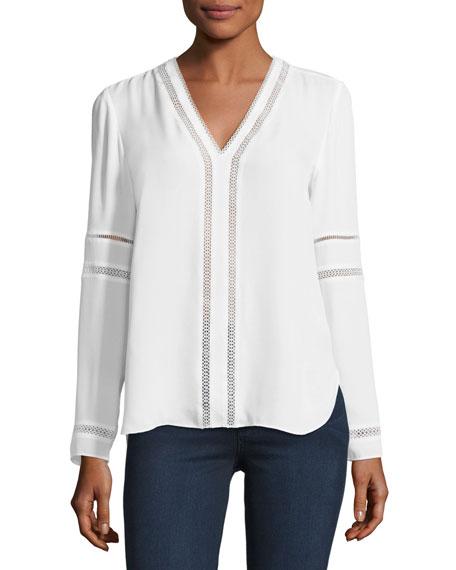 Elie Tahari Damaris Long-Sleeve Lace-Trim Silk Blouse, White
