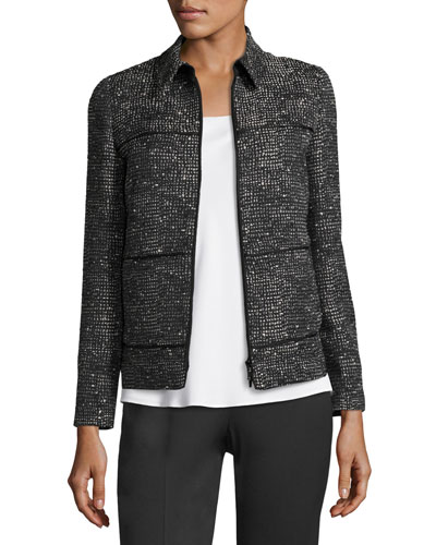 Ryker Zip-Front Deco Woven Jacket, Black Multi