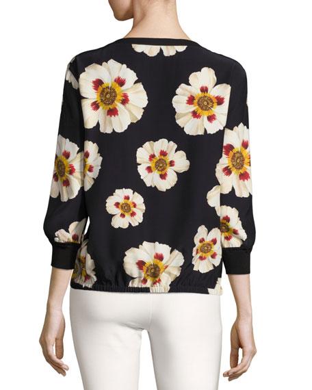 Nessa Artful Floral-Print Silk Blouse, Black Multi