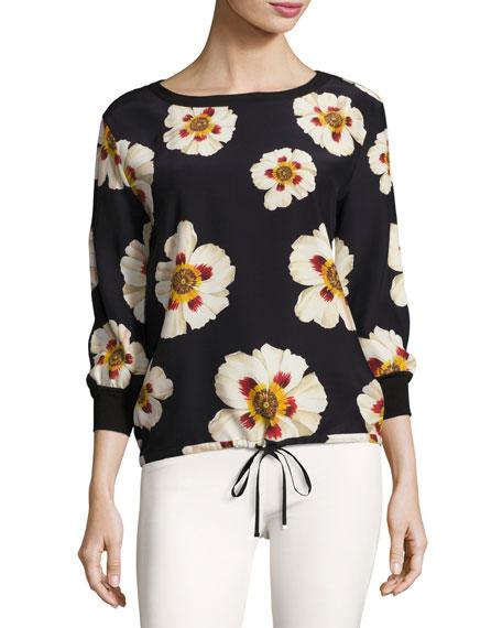 Lafayette 148 New York Nessa Artful Floral-Print Silk