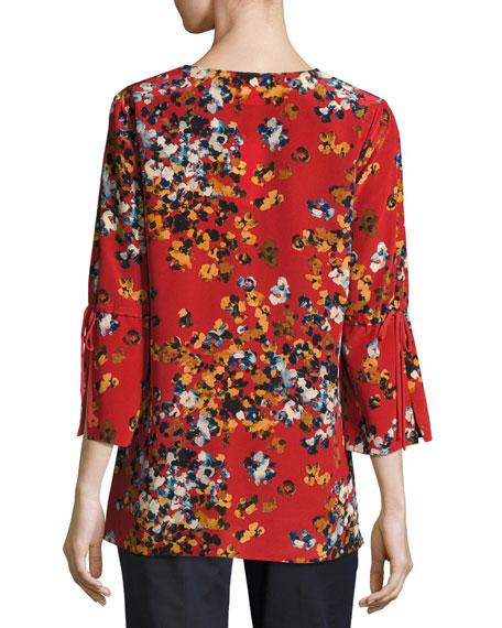 Sela Drawstring-Sleeve Expressionist Azalea-Print Silk Blouse, Flame Multi