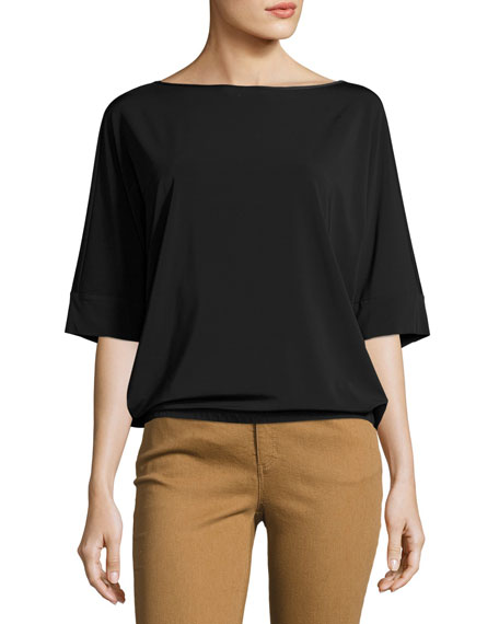 Lafayette 148 New York Bateau-Neck Relaxed Crepe Jersey