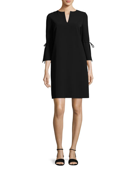 V-Neck Sleek Tech Cloth Dress, Black