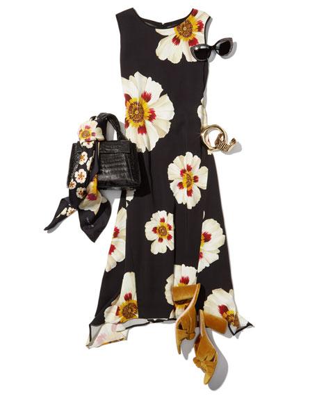 Romona Sleeveless Artful Floral-Print Dress, Multi