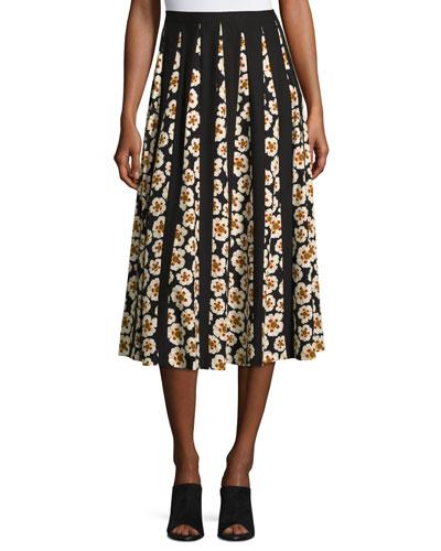 Adalia Artful Floral-Print Silk Skirt, Black Multi