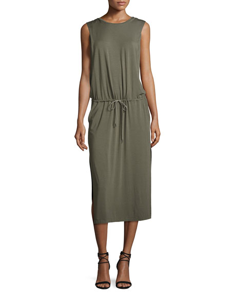 Halston Heritage Sleeveless Jersey Midi Dress, Dark Safari