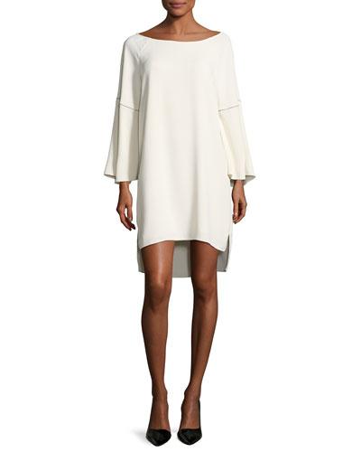 Flounce-Sleeve Wide Boat-Neck Dress, Cream
