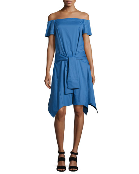 Halston Heritage Off-the-Shoulder Handkerchief-Hem Dress w/ Tie,