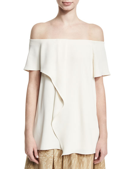 Halston Heritage Off-the-Shoulder Asymmetric Draped Top, Cream