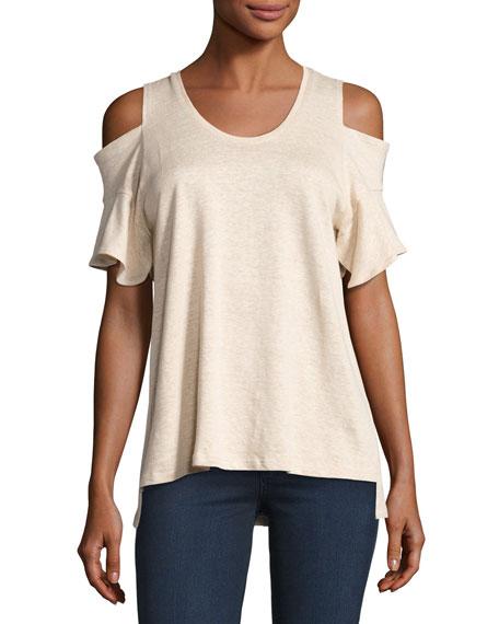Cold-Shoulder Crewneck T-Shirt, Heather Camel