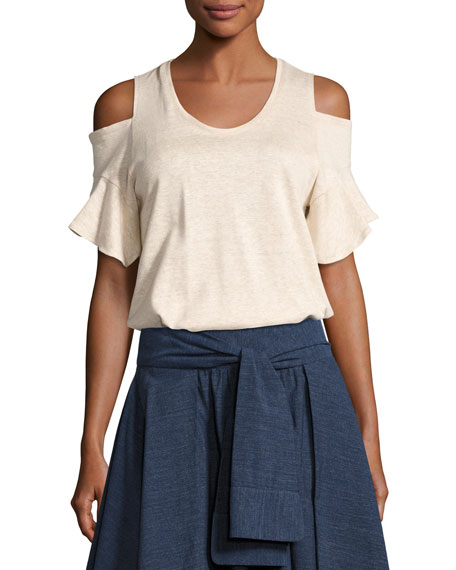 Halston Heritage Cold-Shoulder Crewneck T-Shirt, Heather Camel