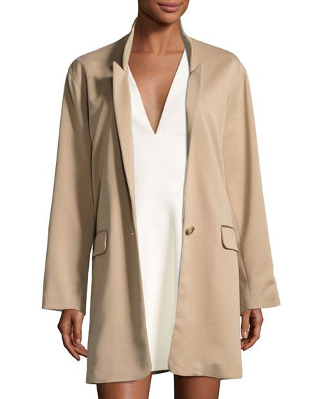 Halston Heritage Long Slim Single-Breasted Jacket, Camel