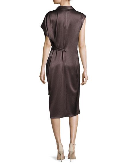 Asymmetric Satin Shirtdress w/ Sash, Brown