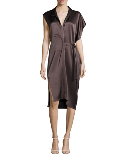 Asymmetric Satin Shirtdress w/ Sash, Brown