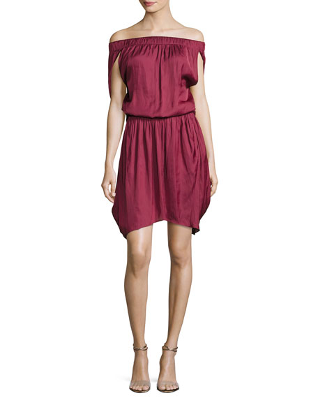 Halston Heritage Off-the-Shoulder Satin Dress, Dark Wildberry