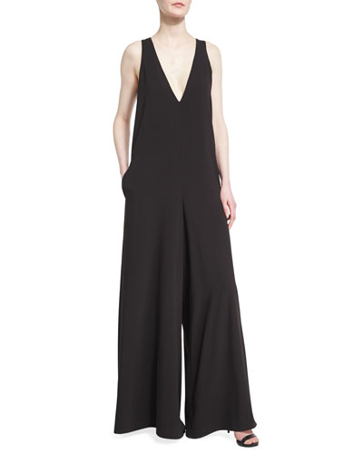 Sleeveless Flowy Jumpsuit w/ Contrast Back Sash