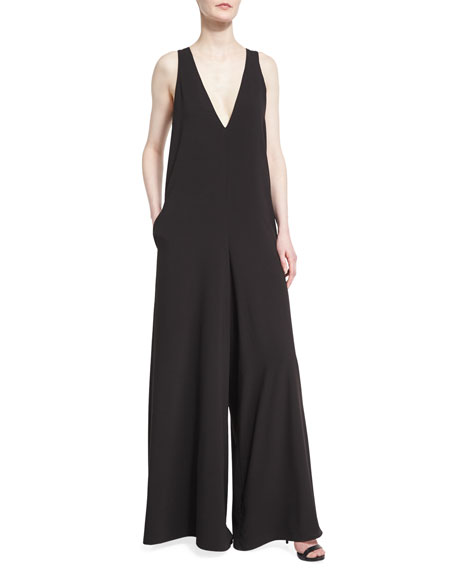 Halston Heritage Sleeveless Flowy Jumpsuit w/ Contrast Back