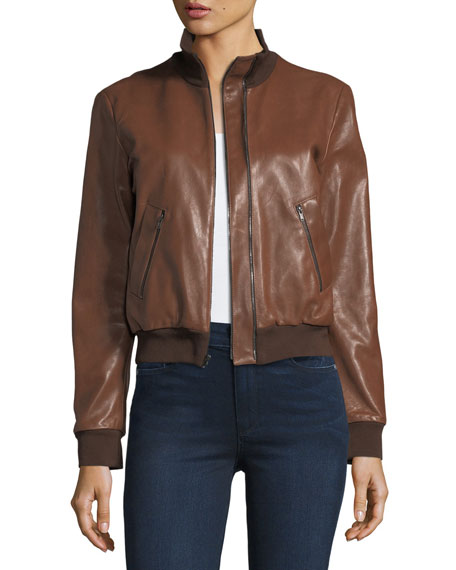 Halston Heritage Leather Bomber Jacket