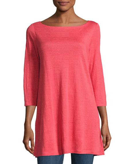 3/4-Sleeve Organic Linen Tunic, Plus Size